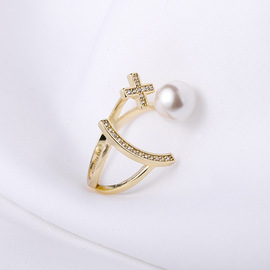Su Shi Original 925 Silver Jewelry Cross Pearl Ring Open Ring Valentine's Day Couple Ring