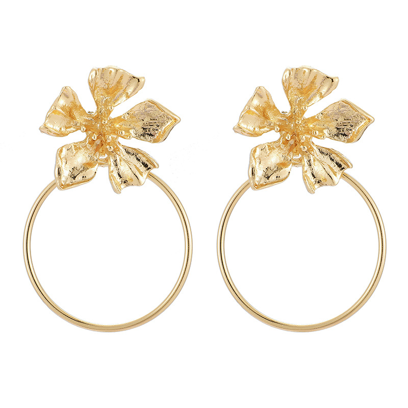 New jewelry vintage gold round flower earrings for women NHGY195407
