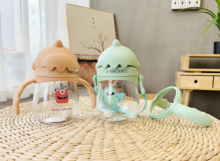 Children's cartoon sippy cup baby hippo cup dual-use learning drinking cup baby gravity ball anti-cricket portable water cup NHtn205388