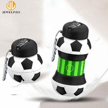 户外运动足球硅胶水瓶学生便携防摔防漏硅胶瓶伸缩水杯创意礼品杯