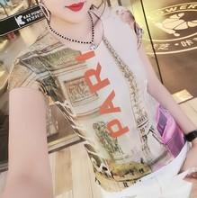 新款欧版铁塔字母印花t恤女式套头个性图案体恤修身版型支持代发