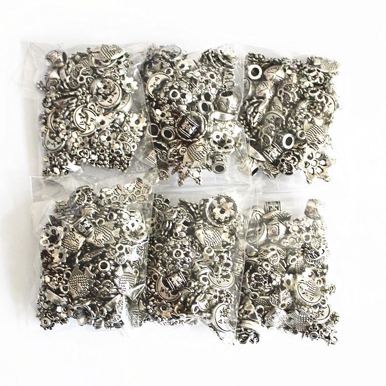 随机藏银配件包1按斤称重藏银花托隔珠片DIY饰品配件花片三通吊坠