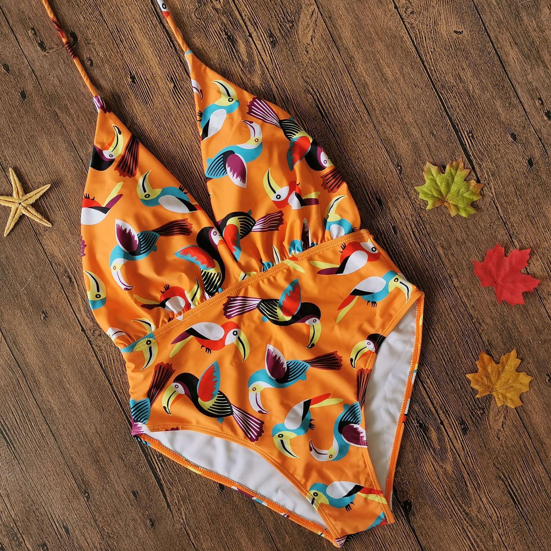 Fashion Ms. One Piece Sexy Multi-Ring Digital Print Swimsuit Wholesale NHHL198410
