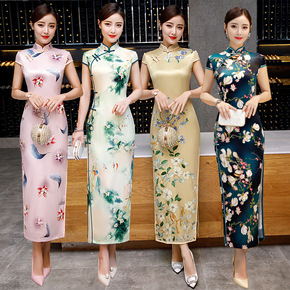 Spring / summer 2020 short sleeve long double layer silk new cheongsam retro slim daily improved cheongsam dress