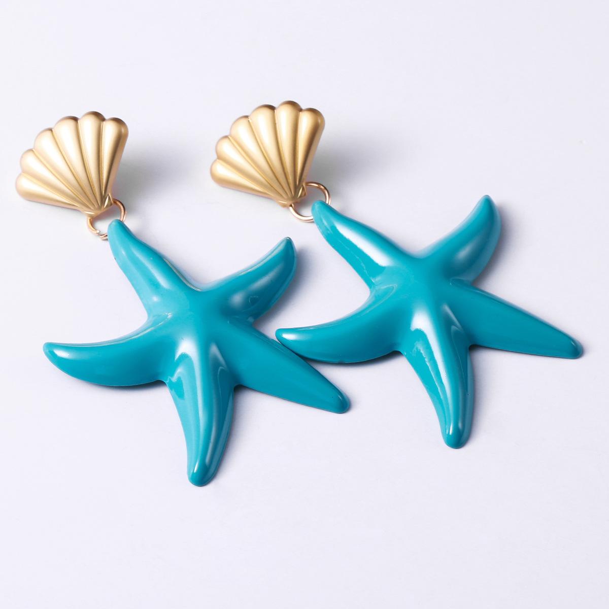 Womens Starfish Paint Alloy Earrings NHJE124038