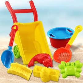 厂家批发直销 儿童大号沙滩玩具推车 户外挖沙运沙玩具套装小推车