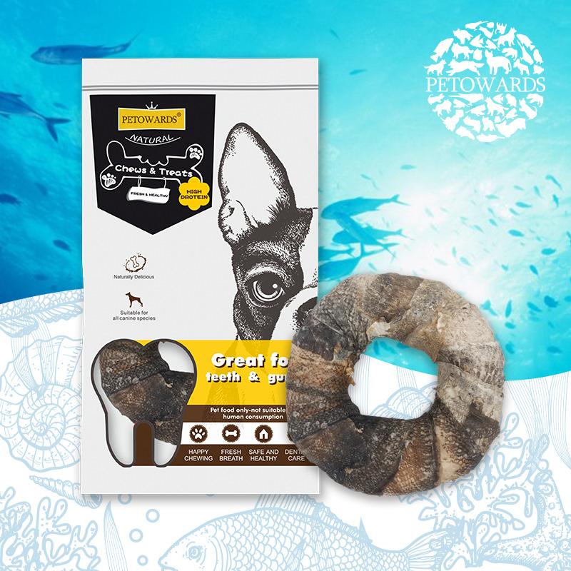 PETOWARDS 海洋 宠物零食 深海鳕鱼皮甜甜圈狗狗训练奖励鱼皮牛皮
