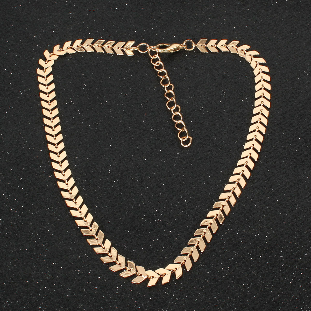 Gold-plated personality fish bone necklace ladies short clavicle necklace NHCT177388