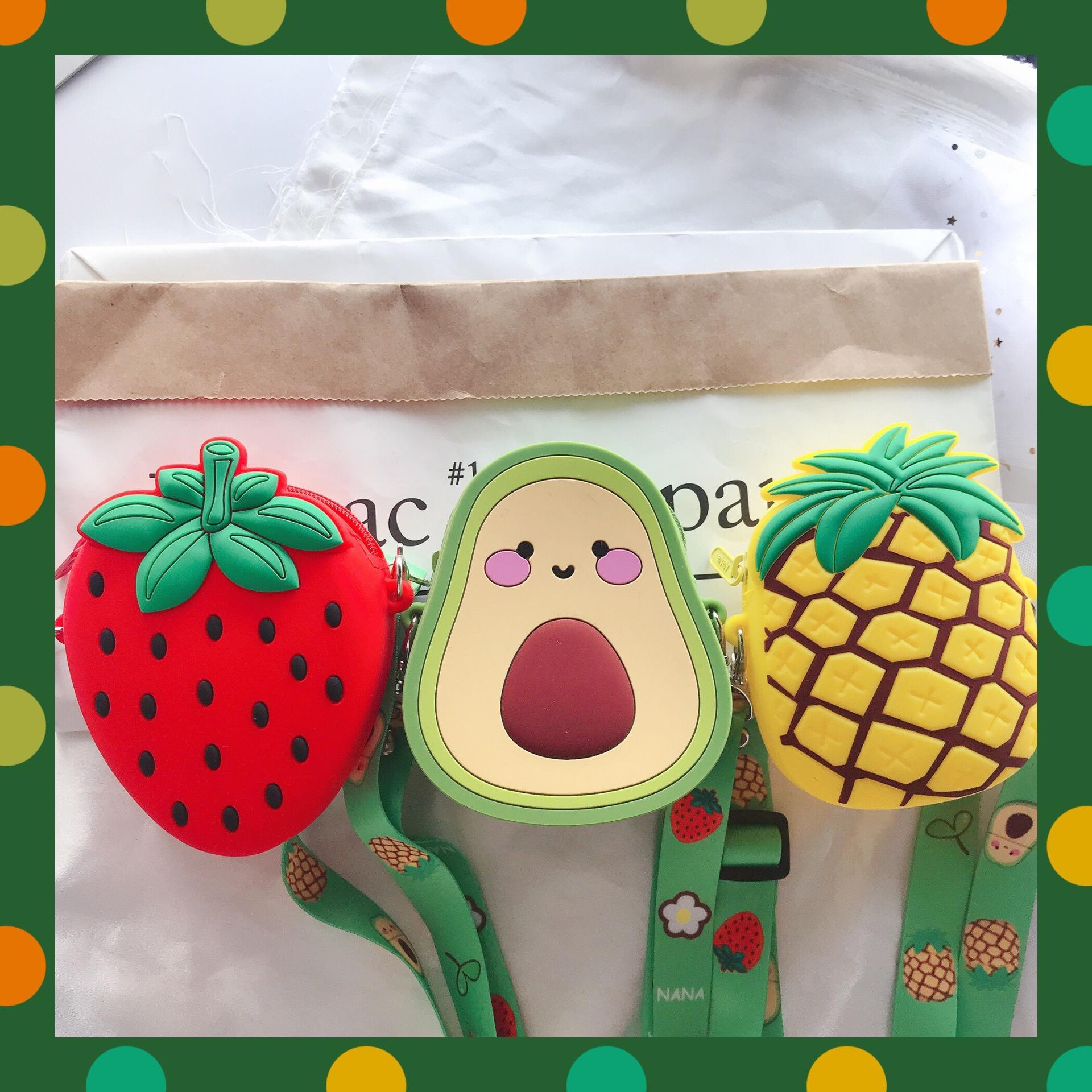 INS可爱斜跨中型包包牛油果零钱包硅胶菠萝草莓硅胶可调节斜跨包