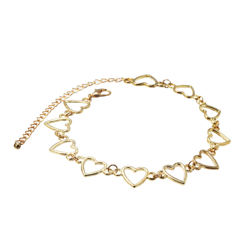 Explosion trend short paragraph love hollow hollow alloy clavicle chain necklace female NHZU178810