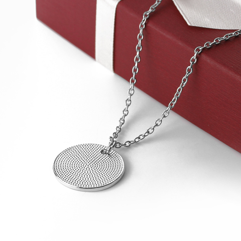 New geometric round tag drop oil letter necklace father39s day gift round pendant necklace wholesale NHMO209061