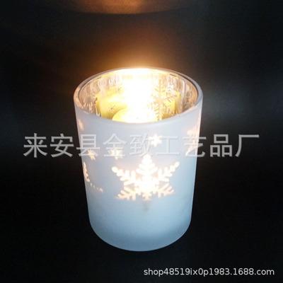定制玻璃烛台喷涂电镀激光雕刻图案圣诞节图案定制厂家
