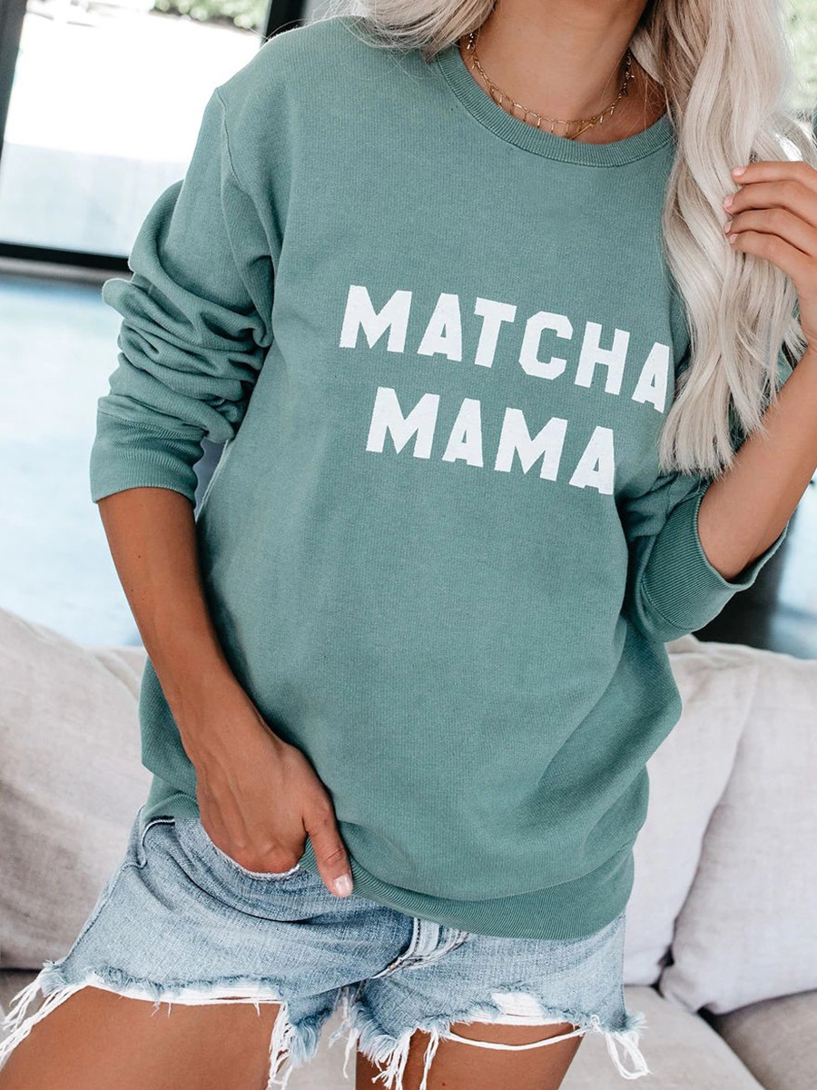 hot-selling autumn and winter new tops women's round neck letter pullover sweater NSAL2867