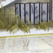中式铁线铁艺假山落地摆件会所大厅别墅庭院酒店抽象摆设金属装饰