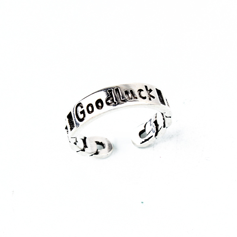 Cute ancient silver smiley opening ring NHGO171831