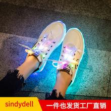 女學生充電七彩發光鞋男防水鬼步舞鞋新款韓版百搭熒光夜光板鞋