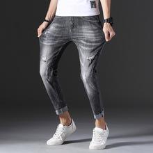 春夏新品灰色复古弹力灰色破洞男式九分牛仔裤青年潮流男式牛仔裤