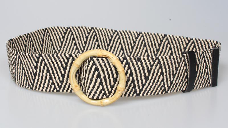 ethnic style bamboo round buckle elastic woven elastic belt  NHJSR366912