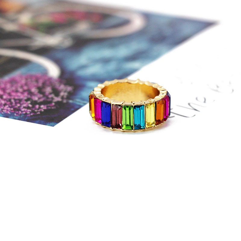 Fashion color rhinestone gemstone ring NHOM126655