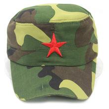 夏季涼帽親子平沿防曬遮陽帽 迷彩+五角星兒童刺繡平頂防曬遮陽帽