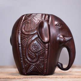 厂家直销黑檀大象吉祥如意实木笔筒批发定制可刻LOGO来样加工