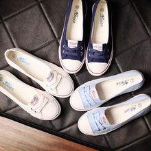 蓓尔夏季透气浅口帆布鞋女鞋韩版低帮布鞋套脚懒人鞋平底单鞋混批