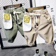 男童工装短裤2019夏季新款儿童休闲字母贴布工装五分裤韩版酷潮裤