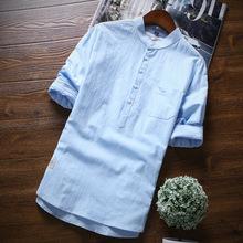 夏季青年男士七分中袖襯衫韓版修身棉質男裝襯衣休閑袖潮微商代理