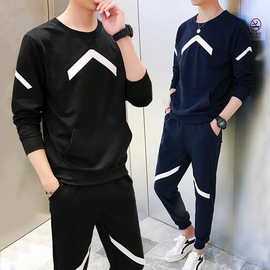 Spring men's jersey suit men's new casual sportswear two-piece suit