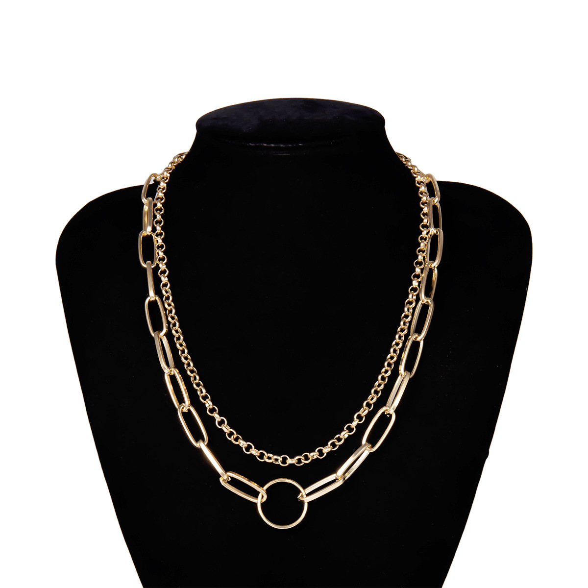 Simple chain multi-layer geometric necklace NHXR153060