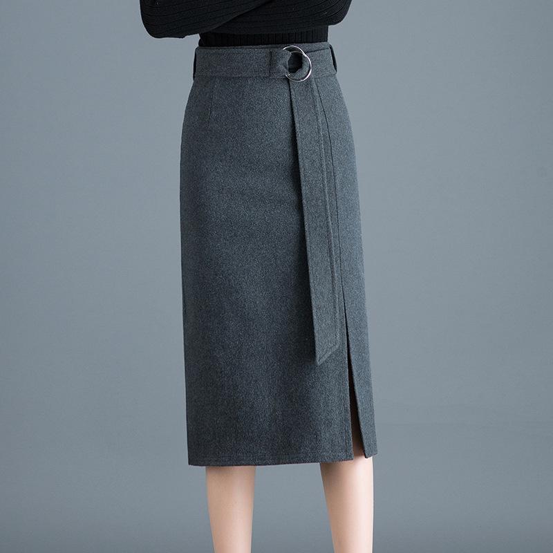秋冬毛呢包臀裙女中长款前开叉半身裙高腰一步裙腰带中裙呢子包裙