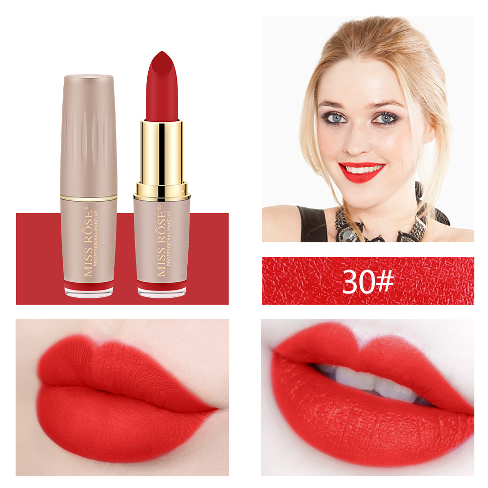 Four-color matte lipstick brick gold tube lipstick is not easy to bleach lipstick #27 20