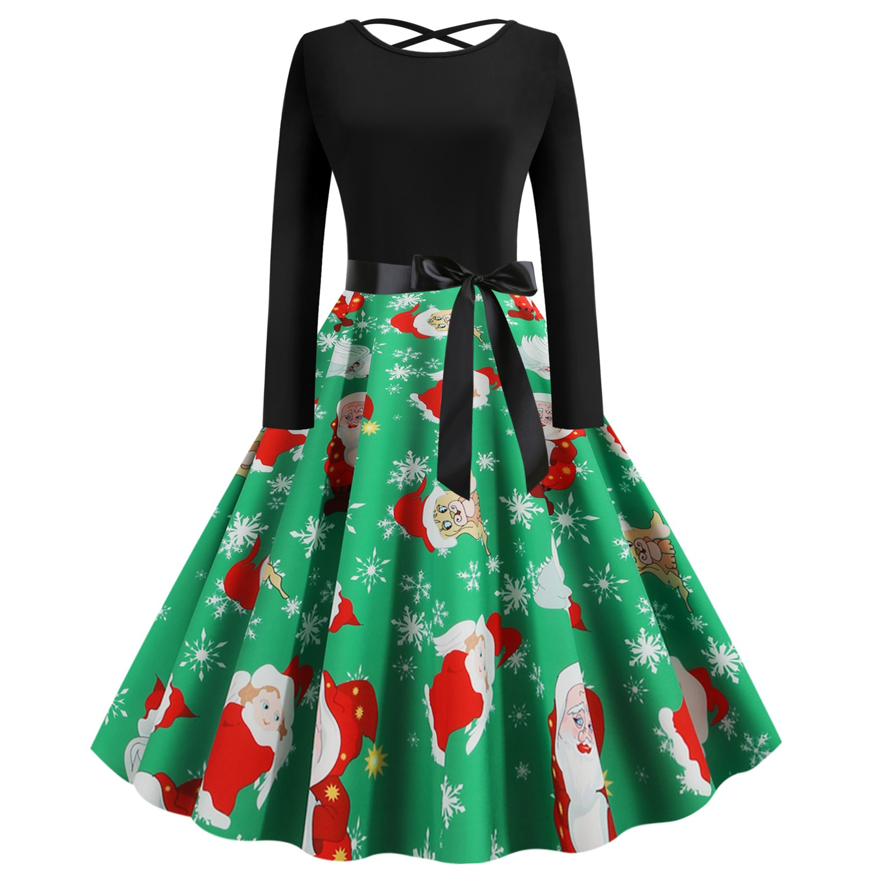W2211 跨境圣诞节女装秋冬季圆领长袖露背圣诞老人印花大摆连衣裙
