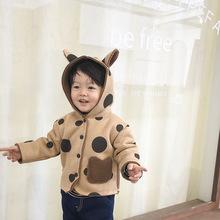 韓國精品童裝20冬季男女童圓點麂皮一體加絨外套寶寶連帽保暖夾克