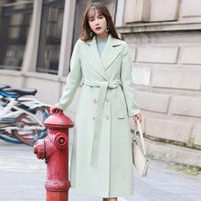 2019秋冬新款純羊毛雙面呢大衣女韓版修身氣質雙排扣純色呢子大衣
