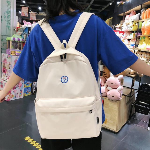 双肩包女初高中学生书包潮韩版森系大容量简约休闲学院风校园背包