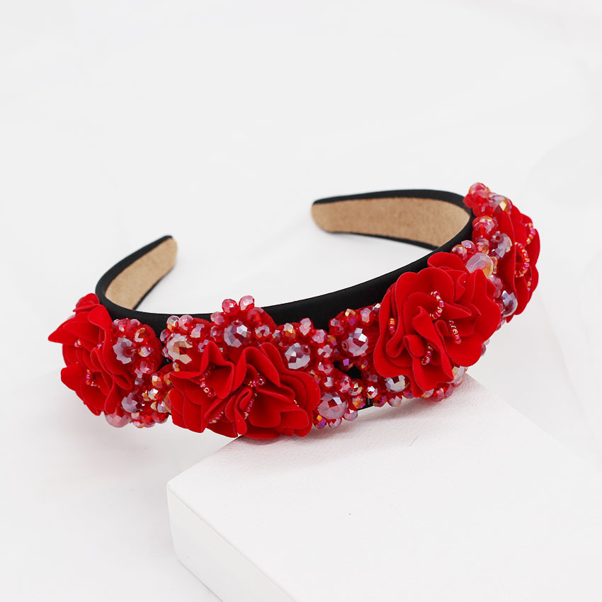 New Baroque Crystal Fabric Flower Headband NHWJ157210