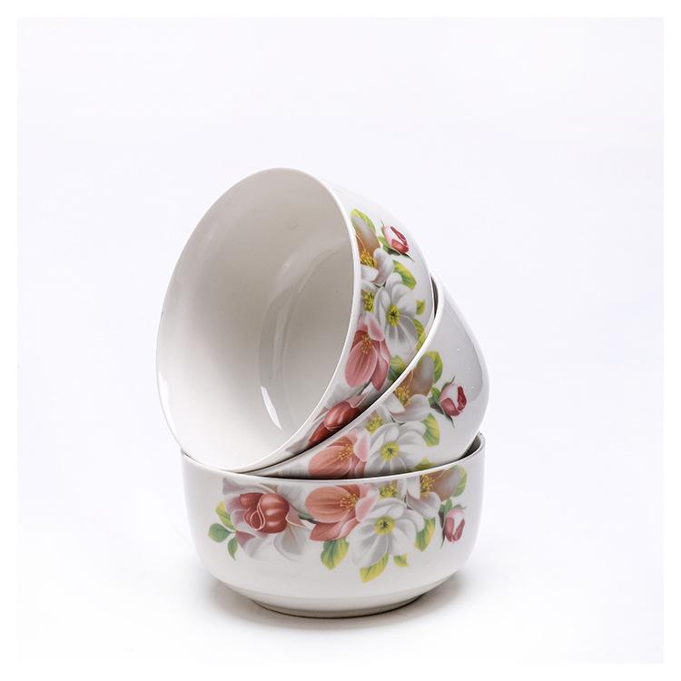 批发创意时尚简约7头彩陶瓷碗餐具彩色印花精美炒菜盘子饭碗面碗