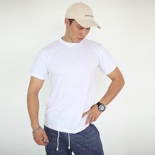 外贸纯棉白色T恤新款男女通用圆领休闲广告打底T恤衫厂家批发