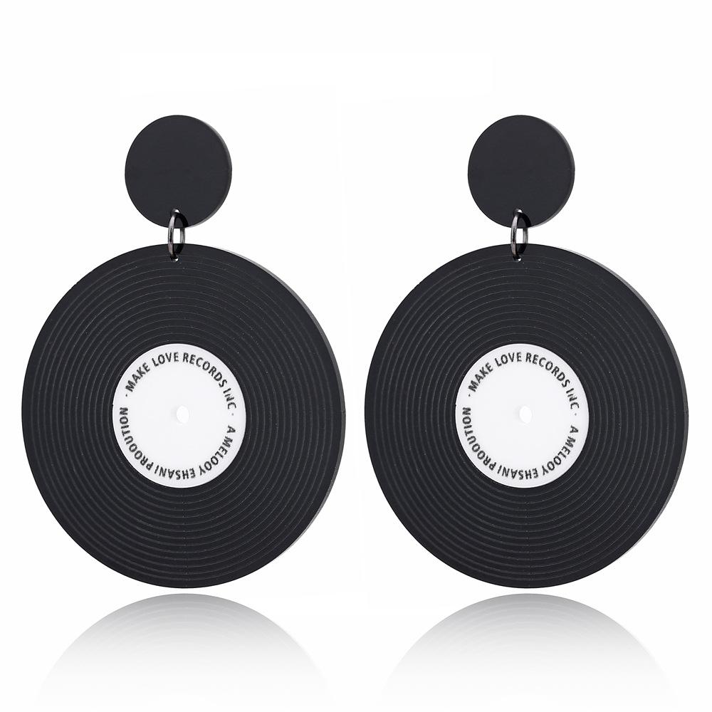 Nuevo disco de vinilo de moda pendientes redondos pendientes simples NHXI176917