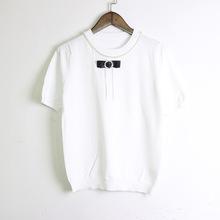 2019夏季新款韩版女装圆领短袖钉珠水钻蝴蝶结针织衫薄款女?#21487;?#34915;