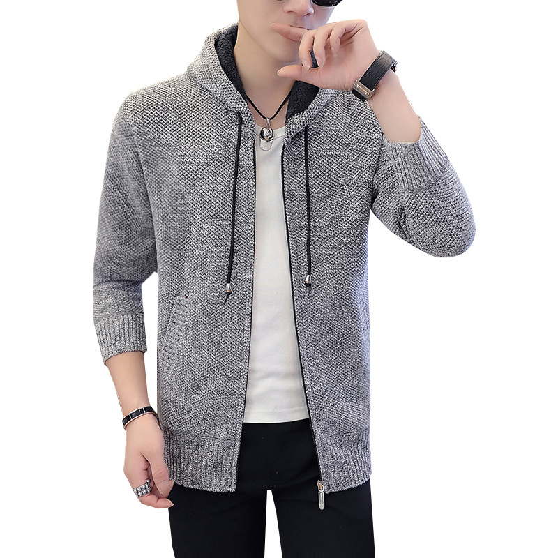 Autumn and winter new men's Plush thickened large hooded cardigan sweater men's solid color sweater student coat top