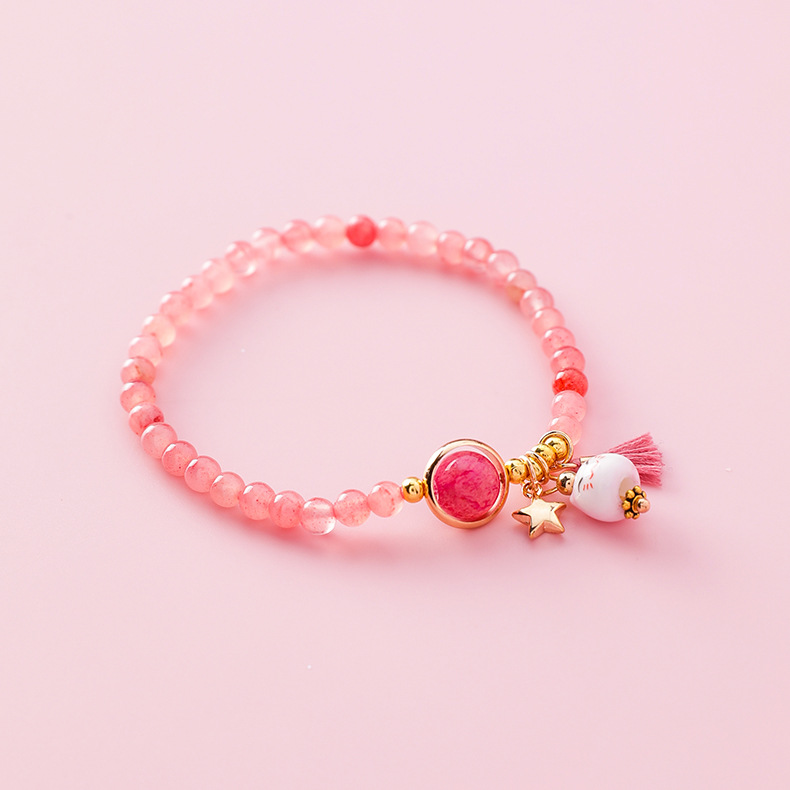 Alloy Korea Animal bracelet  Weaving trumpet cat pink  Fashion Jewelry NHMS2237Weavingtrumpetcatpink