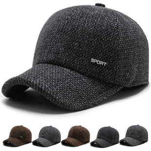 Autumn and winter hats men's middle-aged and elderly woolen hats winter outdoor ear protection baseball cap caps warm dad hat