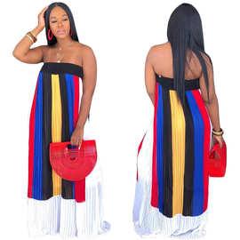 S3583 外贸女装夏季新款性感露肩条纹撞色印花抹胸百褶大摆长裙女