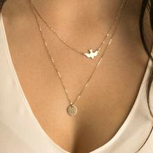 跨境专供速卖通 欧美时尚街拍流行饰品女式多层小鸟圆片2层项链