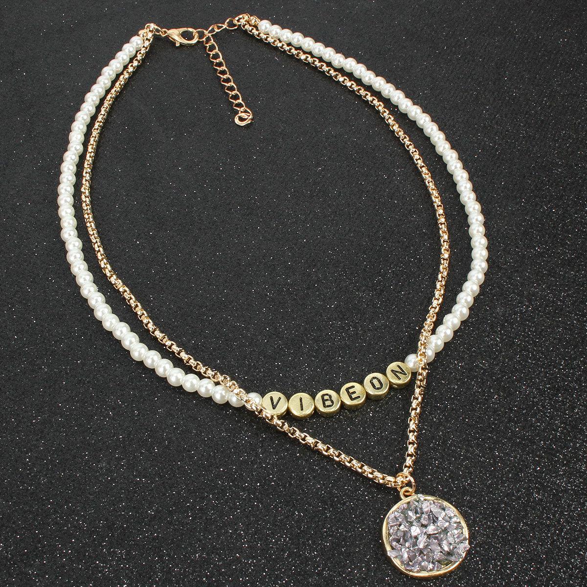 Jewelry item alloy pendant alphabet word necklace women necklace NHCT185774