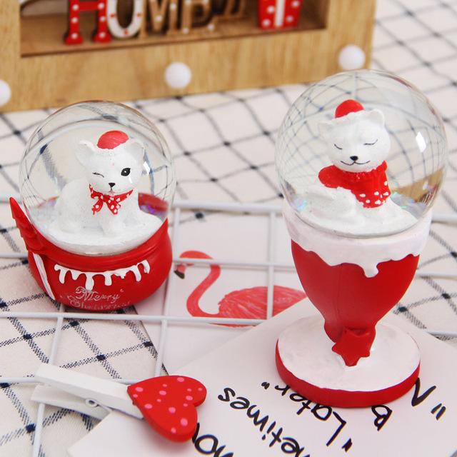 盈浩水晶球摆件小狗雪花水球玻璃球 创意儿童玩具礼物家居工艺品