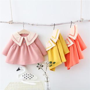童装春款新品 小童韩版童裙纯棉潮范长袖连衣裙工厂热销