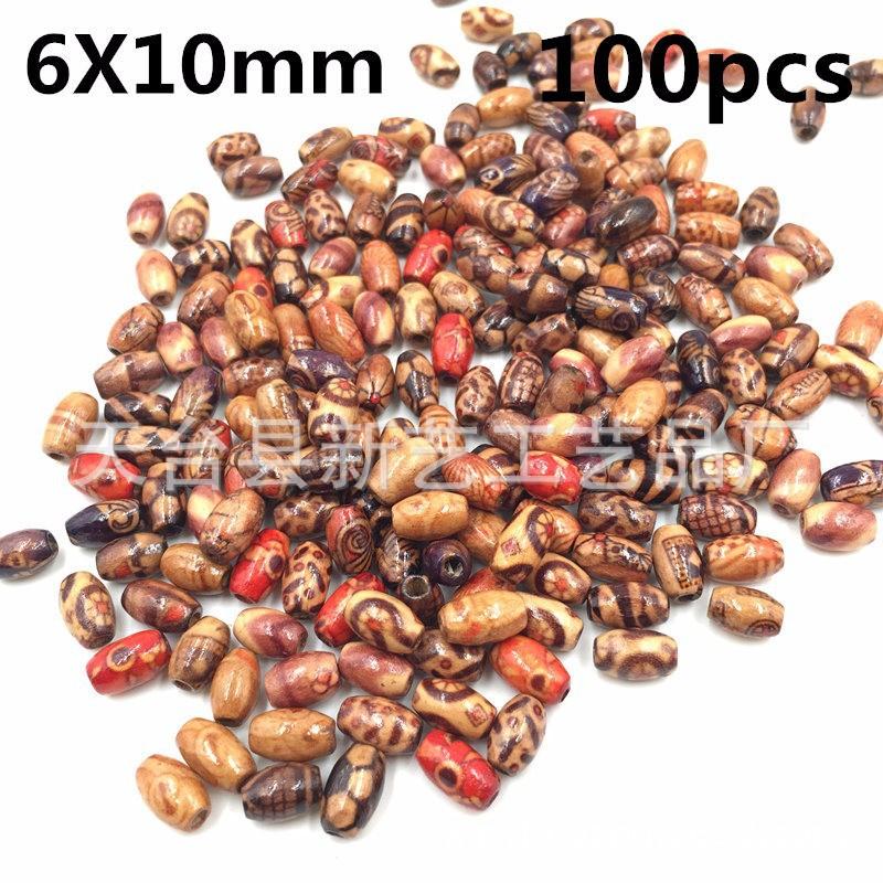 廠家現貨100個混包diy串珠木散珠 大孔包花珠臟辮飾品配件木珠子